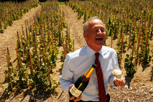 "Director Ghislain de Monglofier in the ""Chaude Terre"" Vineyard, Bollinger Champagne, Ay, France. The grapes from this vineyard are used for the exclusive Bollinger Vieilles Vignes Francaises. (© Owen Franken/Photographed for the New York Times, June 6, 2006)"