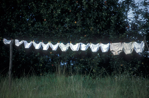 A large family's drying underwear in Asturias, Spain. (© Owen Franken)