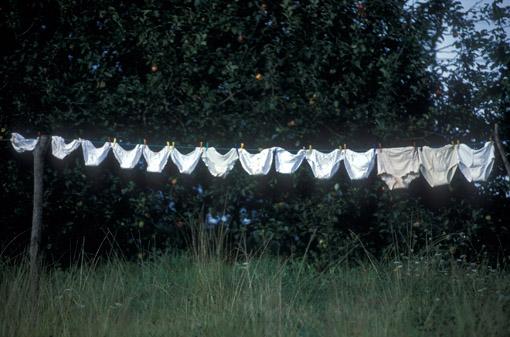 A large family's drying underwear in Asturias, Spain. (© Owen Franken)