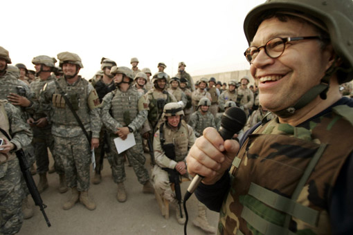 Al Franken (Owen's brother) on a USO tour at Abu Ghraib prison, Iraq. (© Owen Franken)