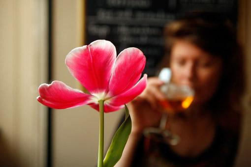 Having a beer in Amsterdam. (© Owen Franken)