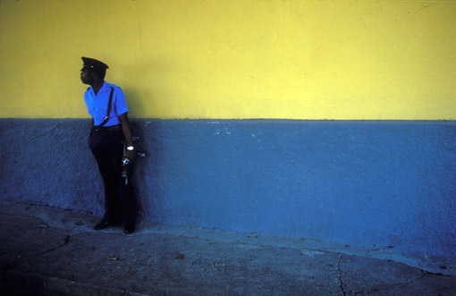 Security for Jean-Claude Duvalier in Port au Prince, Haiti, the day before he fled the country in 1986. (© Owen Franken)