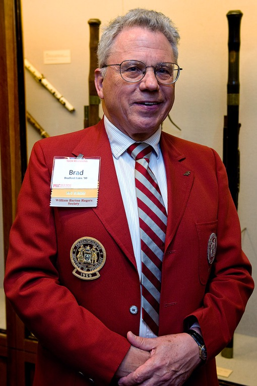 Brad Bates '59, in his father's red jacket. Photo: Justin Knight