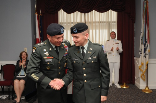 General Petraeus congratulations his son, Stephen '09, at the June 6 ROTC commissioning ceremony.