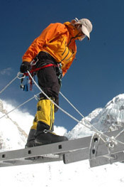 Vic Sahney practices ladder climbing at base camp.