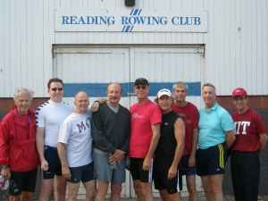Wednesday's Practice at the Reading Rowing Club boathouse. From left to right ( from bow to stern, then coxswain): Chuck Roth '66, Robert Lentz '98, John Malarkey '71, W. David Lee '69, Dusty Ordway '73, Bruce N. Anderson '69, Bruce Parker '69, Don Saer '70, and Willie Vicens '70.