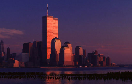 The former World Trade Center in Lower Manhattan, New York City, at sunset. (© Owen Franken).