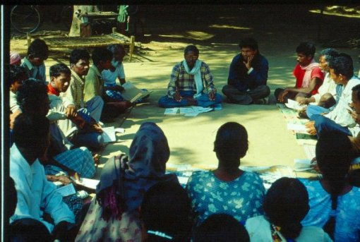 Pradan organizers strategize with rural villagers. Photo: Pradan