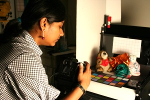 Lavanya Sharan working in her lab. Photo: Liv Gold