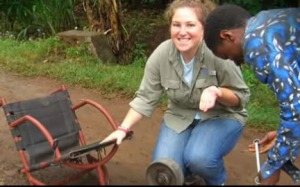 Tish Scolnik '10 working in Tanzania.