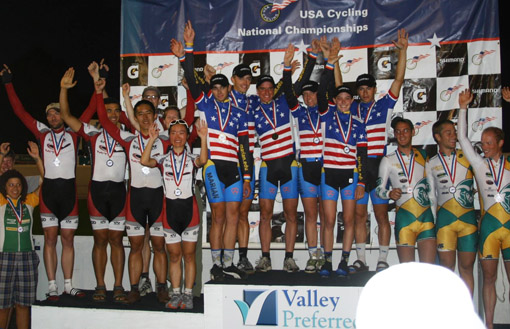 The champs celebrate on the podium (left). Members of the MIT Cycling Team, in no particular order, are: Yuri Matsumoto, Martha Buckley, Laura Ralston, Guo-Liang Chew, Zach Labry, Matt Blackburn, Jose Soltren, Nick Loomis, Mike Garrett, Tim Humpton, and Jason Sears.