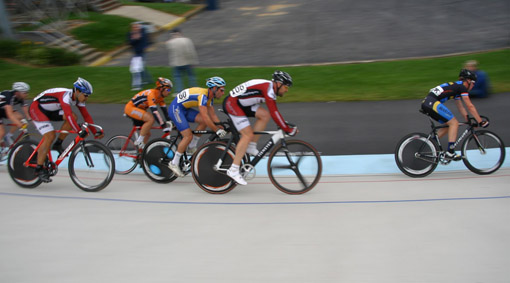 In this points race, Mike Garrett (center, on black and white bike) managed a heroic effort and actually lapped the field. That doesn't happen often in this level of competition and he shot up in the ranking because of it. All photos courtesy Nick Loomis.