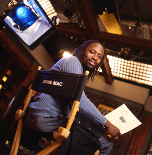 Saladin Patterson on the set of The Bernie Mac Show.