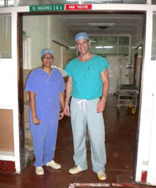 Drs. Dheera Ananthakrishnan and David Katz in the operating theatre, Queen Elizabeth Central Hospital, Blantyre, Malawi.