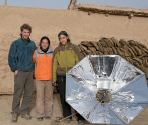 Scot Frank '09, left, and Amy Qian '11, right, developed a solar project in the Himalayas.