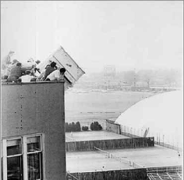 Archive photo of the Baker House piano drop.