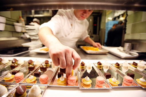 Preparing petits fours in the kitchen of restaurant Daniel, of Chef Daniel Boulud, in New York City