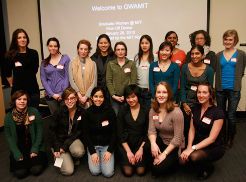Some 20 women, representing various schools and departments, attended GWAMIT's internal kick-off dinner. Front row, from right: executive board members Megan Brewster, Kay Furman, and Jean Yang.