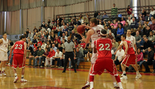 MIT men's basketball team in action against Clark University