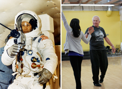 Buzz Aldrin in his astronaut days and now his dancing days.