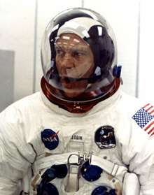 Buzz Aldrin appearing relaxed during suiting operations in the Manned Spacecraft Operations Building (MSOB) prior to the astronauts' departure to Launch Pad 39A. He'll take this same intrepid spirit to the dance competition. Photo: NASA Kennedy Space Center.