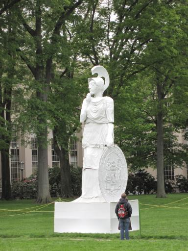 A giant statue of the Greek goddess Athena appeared in MIT's Killian Court on the first day of final exams 2009.
