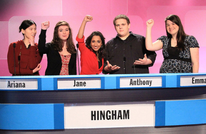 High School Quiz Show, hosted by Lakshminarayanan (center), will present students from 20 schools, including Hingham.